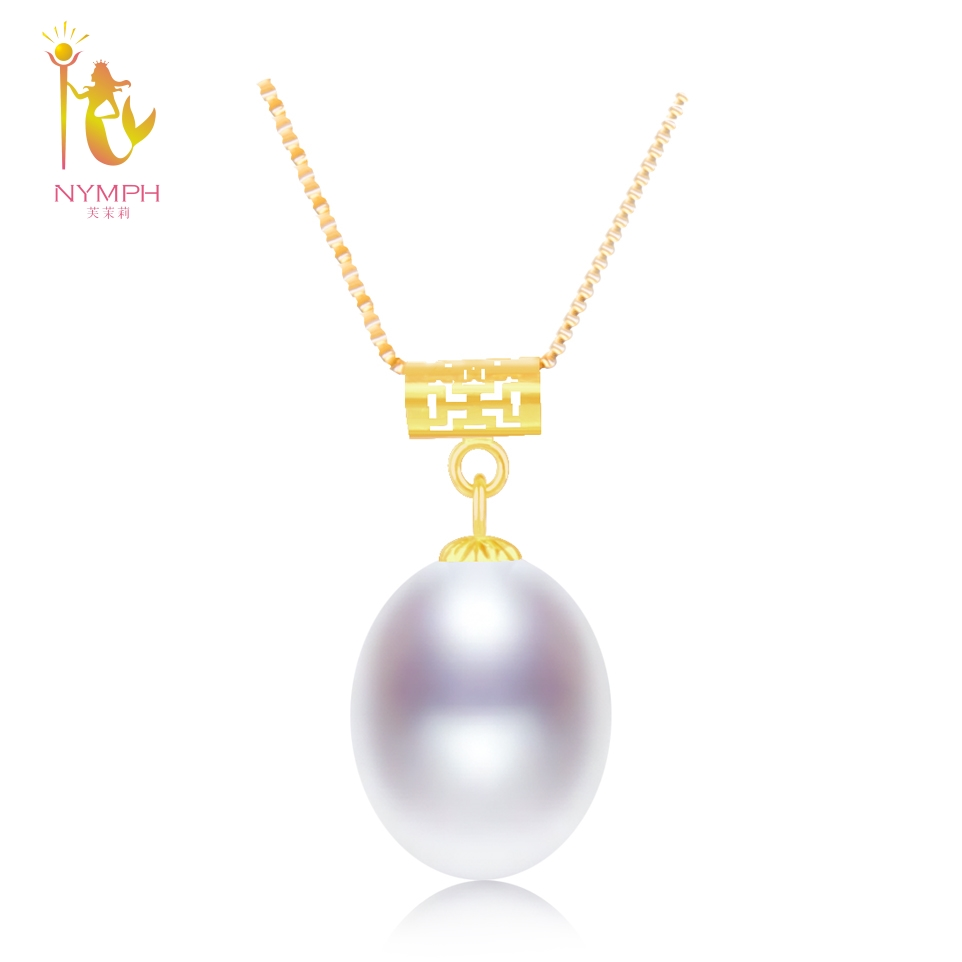 NYMPH 18K Yellow Gold Natural Fresh Water Pearl Necklace Pendant 9-10mm Wedding Party Gift For Women Girl New D228 nymph brand 18k 9 10mm pearl pendant necklaces for women yellow gold pearl fine jewelry gift party luxury lifestyle