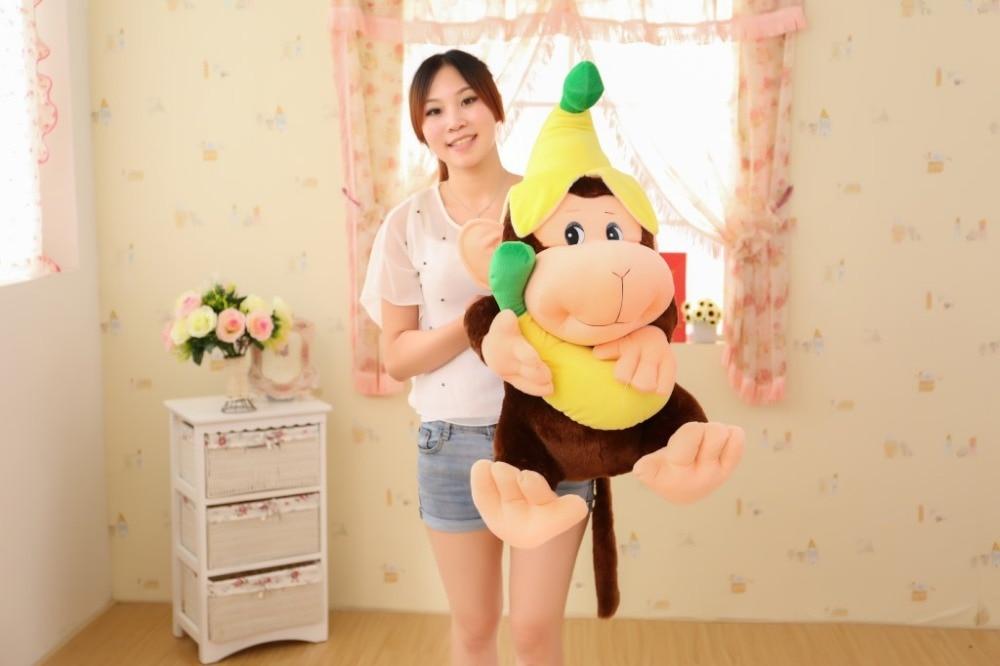 ขนาดใหญ่80เซนติเมตรกล้วยน่ารักลิงของเล่นการ์ตูนลิงตุ๊กตาโยนหมอนของขวัญคริสต์มาสw6408