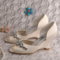 Wedopus MW518 Ivory Satin Wedge Heel Womens Wedding Bridal Shoes Spring Dropship
