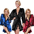 Women Sexy Noble silky shiny lace nightgown Satin Lingerie Robe Dress Sleepwear Nightwear  4 Colors
