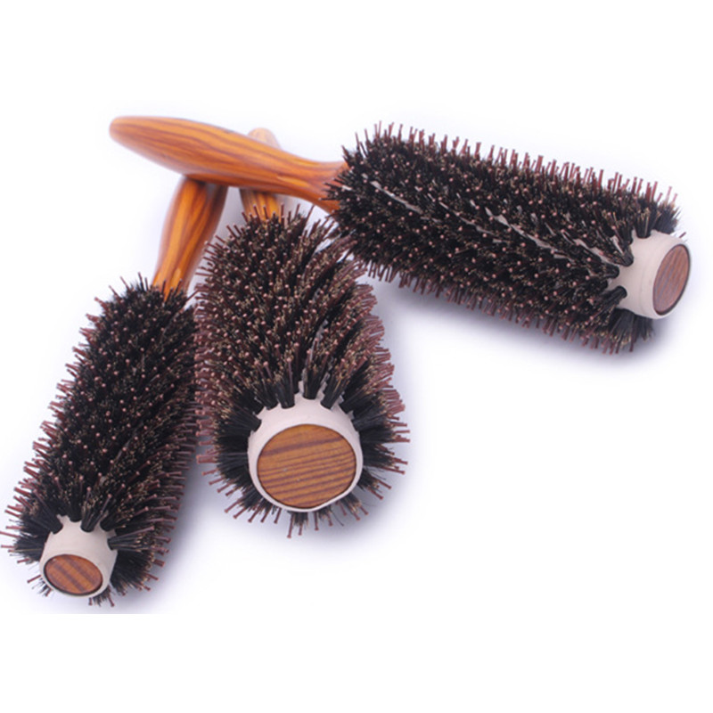 IRUI 1pc Portable Wood Handle Natural Boar Bristle Hair Brush Professional Rolling Comb Beauty Salon Hairdressing Barber Tools