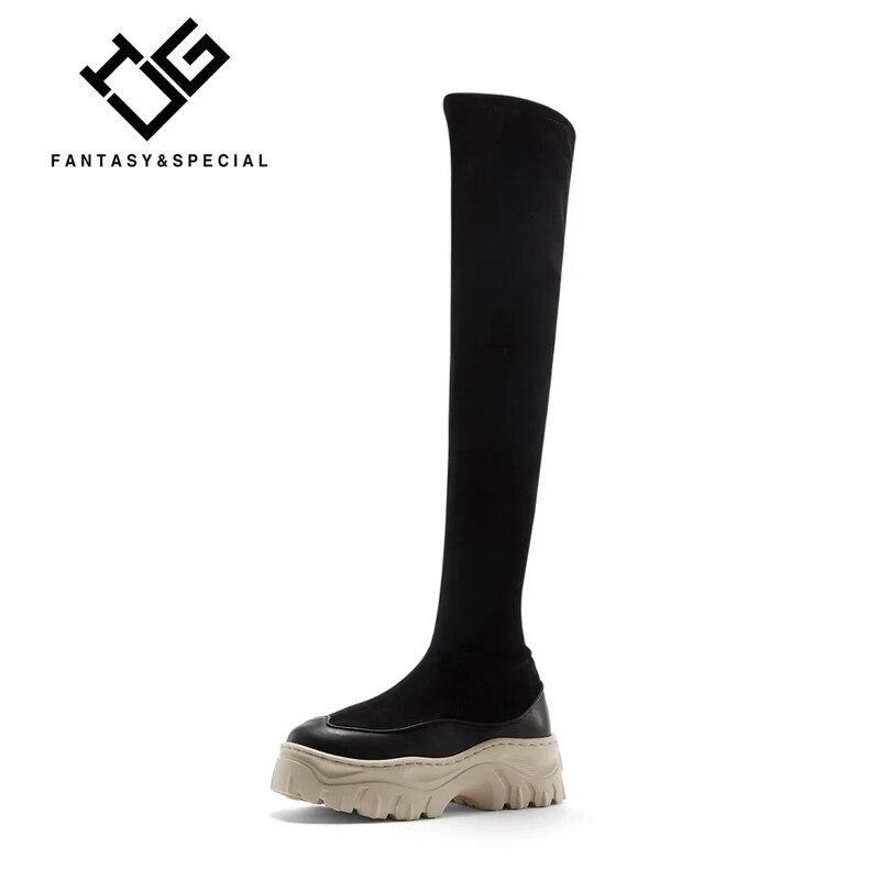 IGU/высокие сапоги до бедра, женские черные зимние сапоги из натуральной коровьей кожи, Сапоги выше колена, пикантная модная обувь на плоской