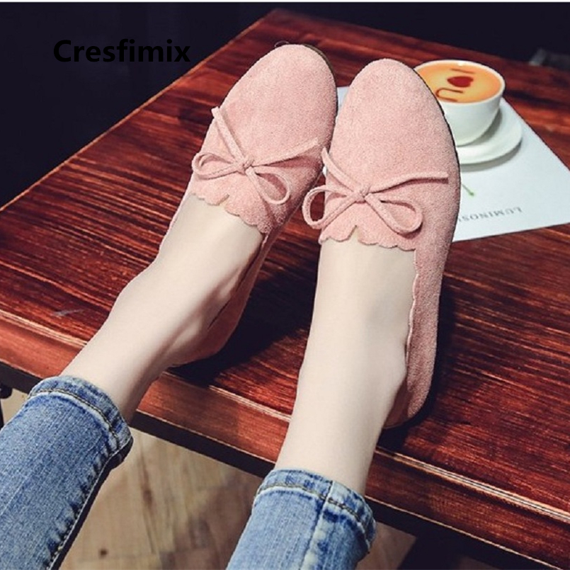 Cresfimix Chaussures Plates Women Casual Pink Flock Flat Shoes Lady Cute Comfortable Slip On Shoes Spring & Summer Shoes A855