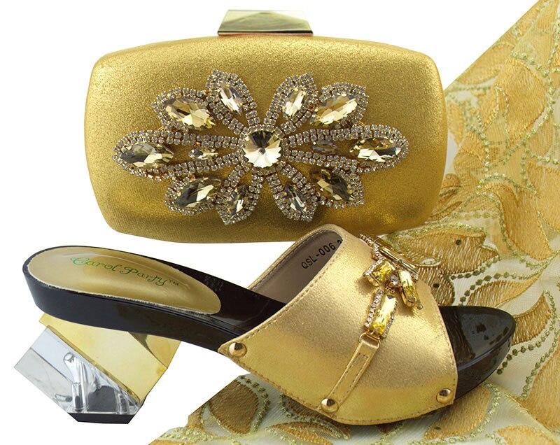 Dernières chaussures italiennes de Style avec des sacs assortis mis couleur or d'été décoré avec des chaussures de fête femmes strass et ensemble de sac à main