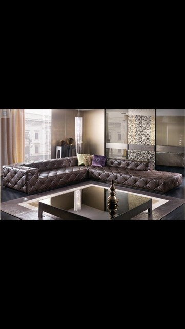Leather Sectional Chesterfield L Shape Sofa w/ Crystal Buttons  3