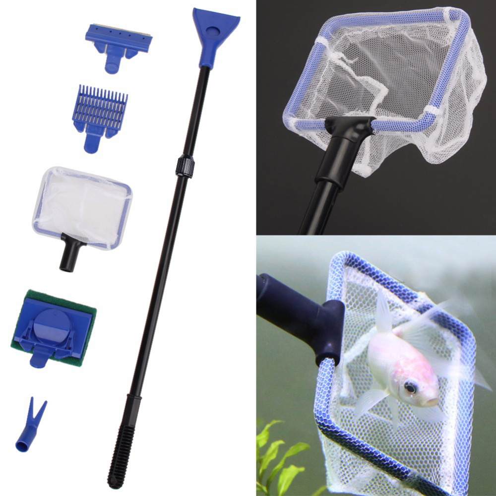 2019 New Arrival 5 In 1 Aquarium Cleaning Tools Quality Net Fish Gravel Rake Algae Scraper Sponge Fork Brush Glass Cleaning Tool