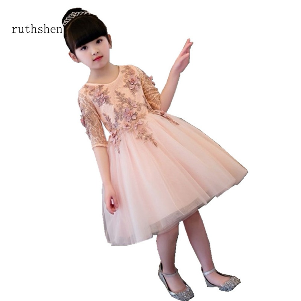 Ruthshen 2018 New Flower Girl Dresses Beaded Appliques Real Photo