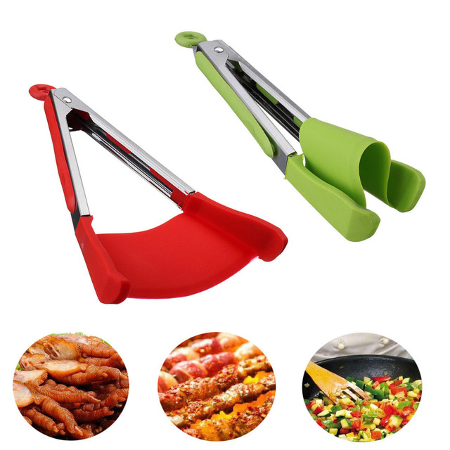 New 2 in 1 Smart Kitchen Spatula and Tongs Non-Stick Heat Resistant Stainless Steel Frame Silicone Tongs Kitchen Gadget 5