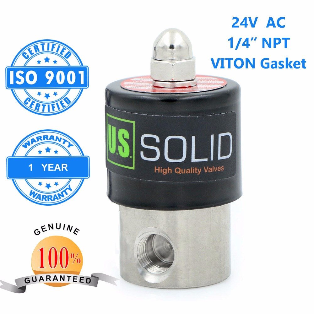 U.S. Solid 1/4 Stainless Steel Electric Solenoid Valve 24 V AC NPT Thread Normally Closed water, air, diesel... ISO Certified u s solid 1 stainless steel electric solenoid valve 110v ac npt thread normally closed water air diesel iso certified