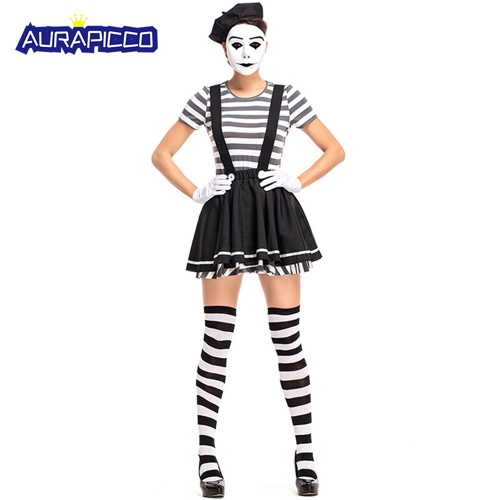 french funny clown costume street antic actor artist uniforms women