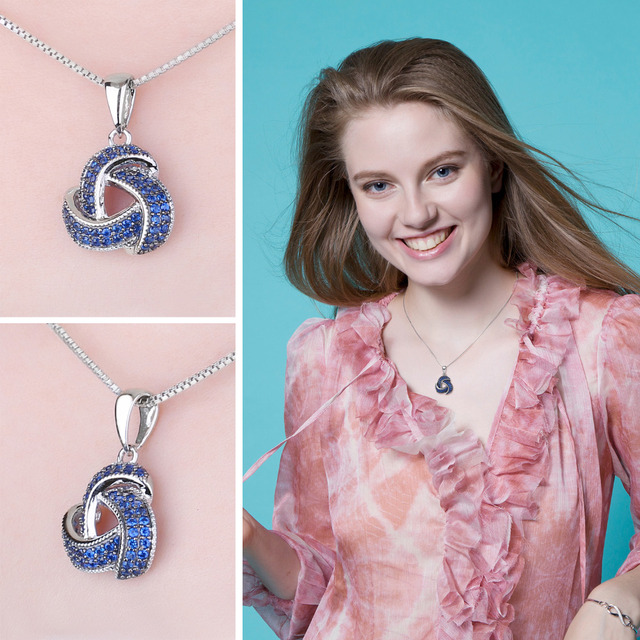 0.5ct Created Blue Spinel Flower Wraparound Cluster Pendant 2