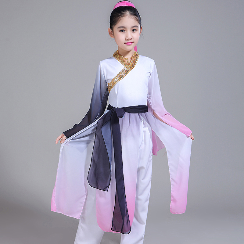 Hanfu new style children's classical dance costumes girls elegant Chinese style ink modern dance clothing performance clothing