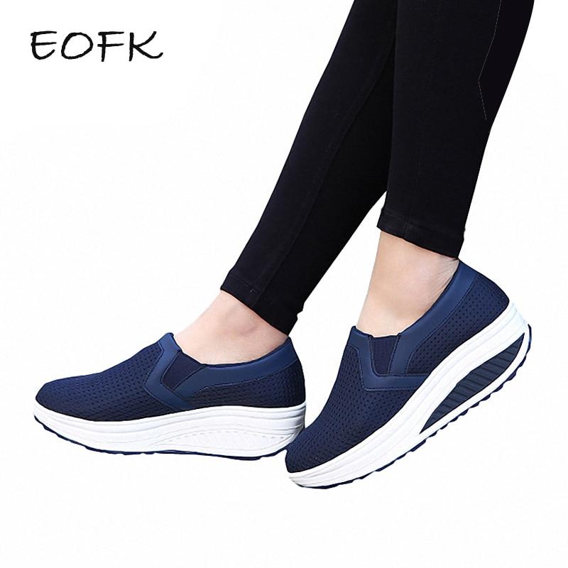 EOFK New Women Flats Platform Shoes Summer Breathable Mesh Casual Flat Shoes Woman Comfortable Women s