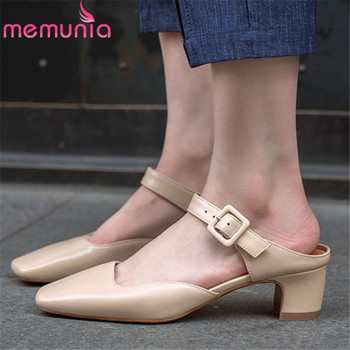 MEMUNIA 2019 hot sale pumps women shoes square toe genuine leather shoes buckle fashion square heels slip on casual shoes woman