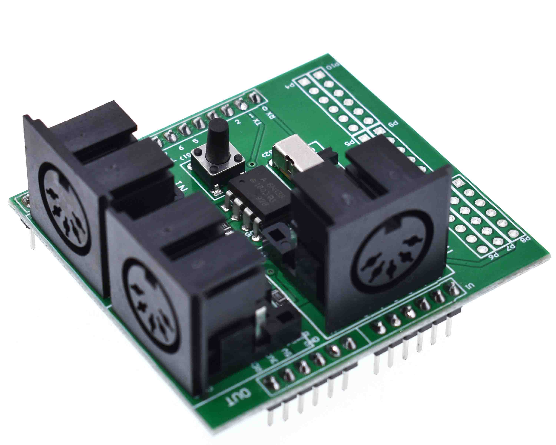 Placa para Placa de Adaptador Adaptador de Módulo Escudo Midi Musical Instrument Digital Interface Breakout Board Adapter de Módulo Arduino Compatível