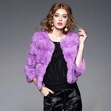 Elegante moda del coniglio natural fur giacche donna O collo 3 4 manicotto  reale cappotti di pelliccia capispalla donna pelle pe. cb8394d7a40