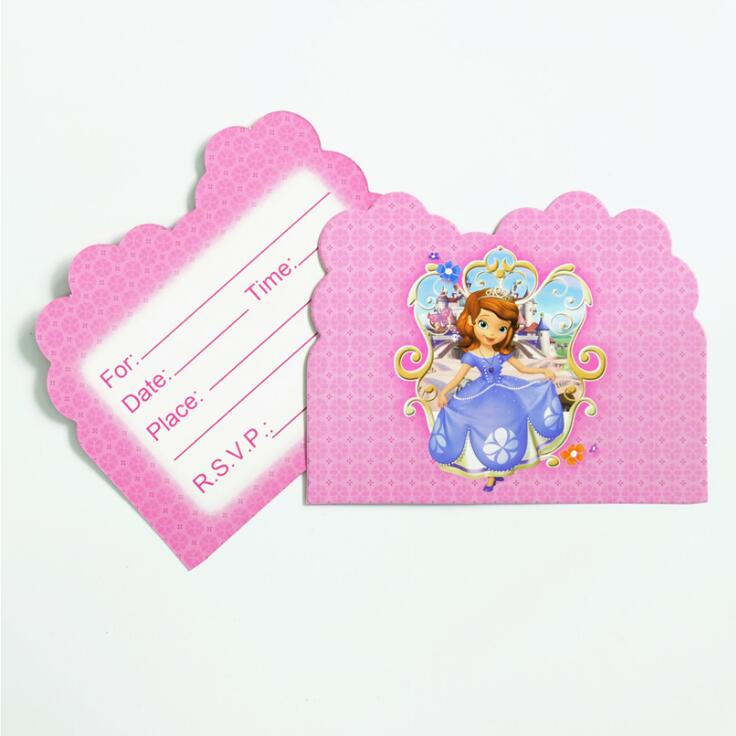 10pcs Princess Sofia Theme Party Paper Invitation Card Birthday Party Decorations Kids Baby Shower Supplies Party Favors