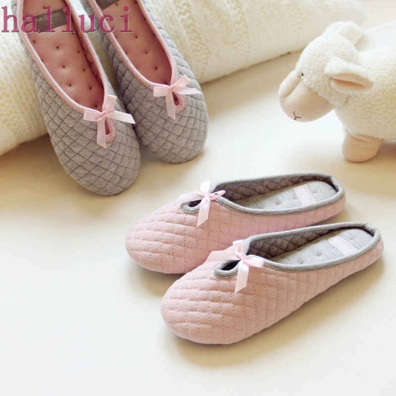 Lovely Bowtie Winter Women Home Slippers For Indoor Bedroom House Soft Bottom Cotton Warm