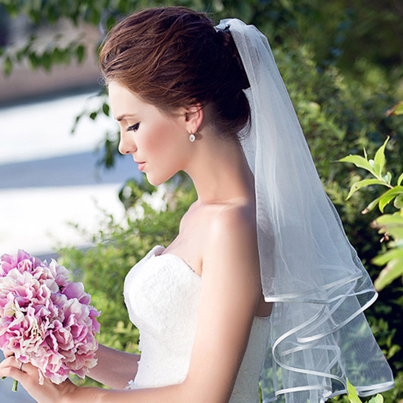 2019 Simple Short Tulle Wedding Veils Cheap  White Ivory Bridal Veil for Bride for Mariage Wedding Accessories(China)