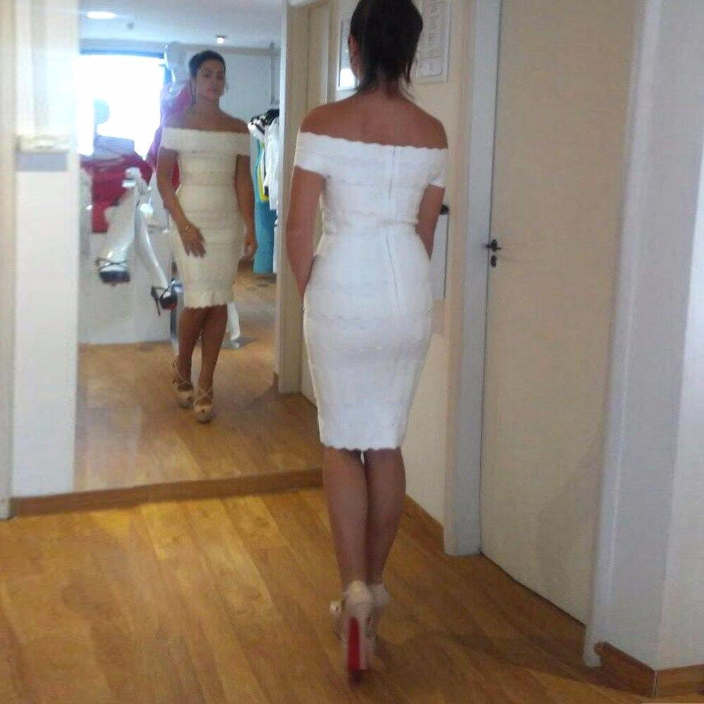 3 L'épaule Bandage Hors Cou Moulante Robe Mini Dames Rouge Slash Sexy Blanc Élégant Couleurs De Hl Parti rwAq1n6rX