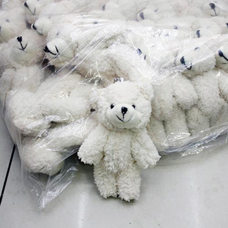 Image 4 - 50pcs/lot Mini Joint Teddy Bear plush toys chain white gummy bears 12cm animal for Wedding peluches bicho ursinho de pelucia-in Stuffed & Plush Animals from Toys & Hobbies