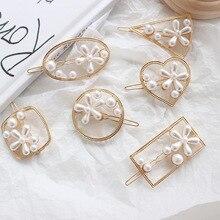 New Women Fashion Hair Accessories Metal Pearl Hairpins Lady Simple Clip Barrette Headwear Tool