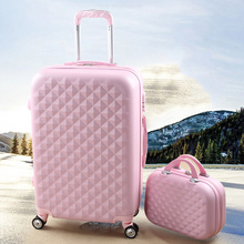 Wholesale!14″&20″ female lovely pink,green,red,blue luggage sets,girl fashion abs pc trolley luggages for travelling
