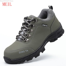 hot deal buy 2019 men steel toe safety shoes for men fashion hiking boots construction work shoes men footwear rubber ankle boots size 35-46