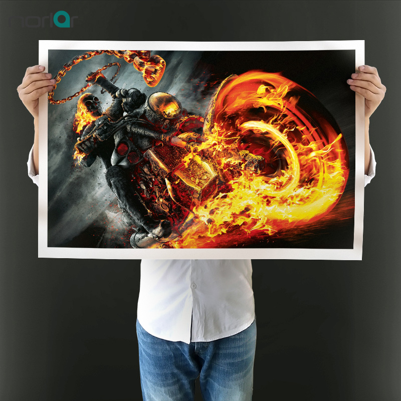 Modern Movie Poster HD Printed Ghost Rider Fire Skull Motorcycle Art Wall Pictures For Living Room Wall Canvas Print Paintings
