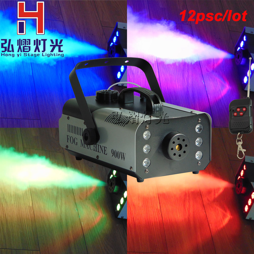 12pcs/lots Super 900w RGB 3In1 Fog Machine DMX512 Smoke Machine With Light Professional Stage Machine DJ /Bar/Home Fogger 900w 1l fog machine remote wire control fogger smoke machine dj bar party show stage machine