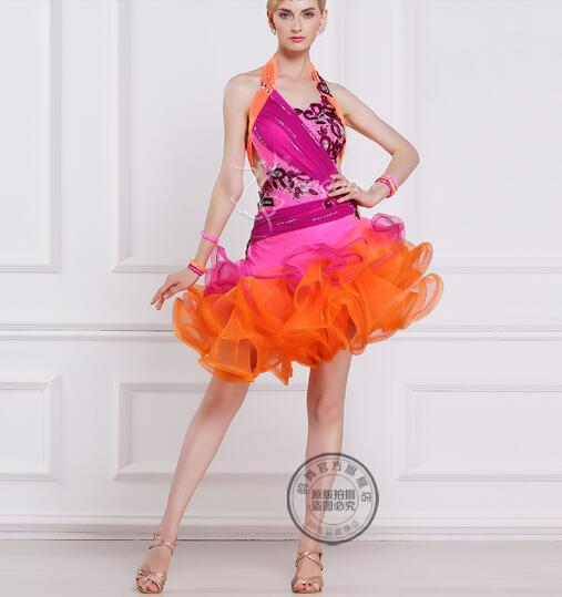 rhinestone pink orange customize custom back cutout Rumba cha cha salsa  tango Latin dance competition dress d3b209401746