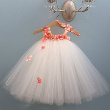 여자를위한 수국 꽃 공주 드레스 키즈 무릎 길이 생일 파티 투투 드레스 솜털 걸스 웨딩 화이트 드레스 Vestido