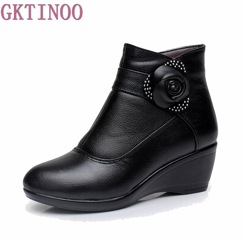 New 2017 women boots women genuine leather winter boots warm plush autumn boots winter wedge shoes