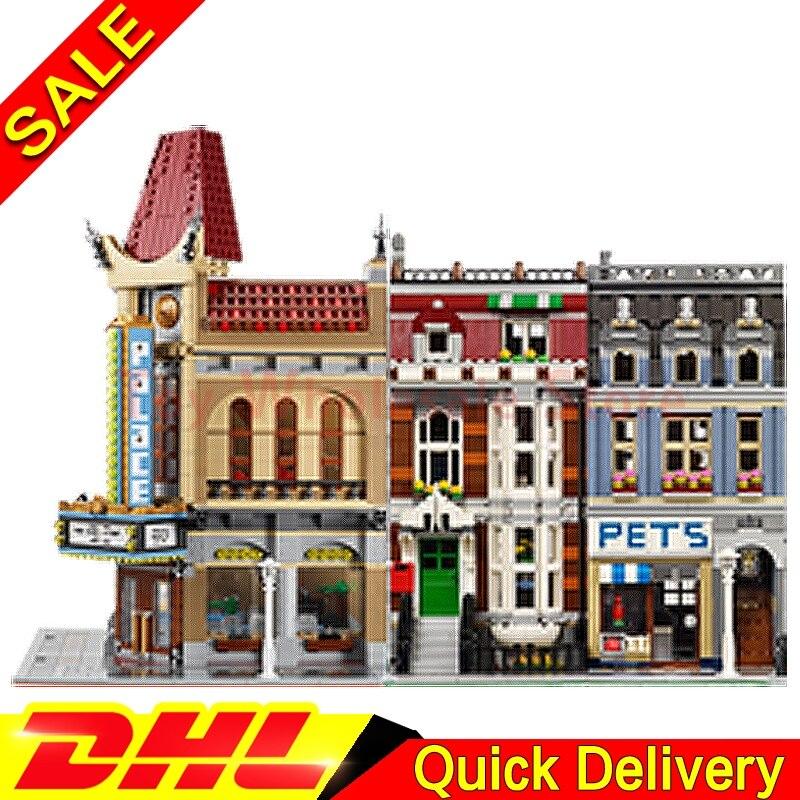 Lepin 15006  Palace Cinema + Lepin 15009 Pet Shop Supermarket Model Building Street Sight Kits Blocks Bricks lepins 10232 10218 stadtstrabe creator pet shop supermarkt modell lepin 15009 2082 stucke baustein kinder spielzeug kompatibel 10218 ziegel