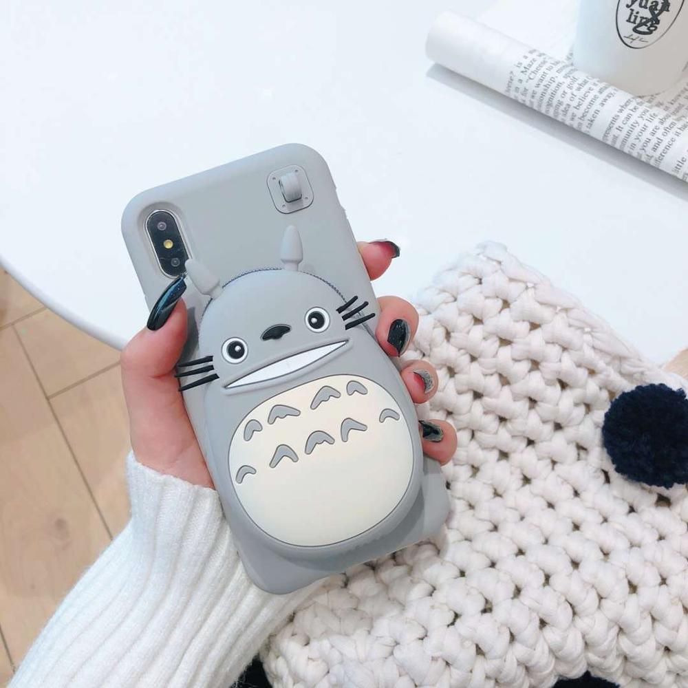 Cartoon 3D Totoro Wallet Phone Case for IPhone X XS Max XR 6 6s 7 8 Plus Cute Soft Silicone Phone Case Torex