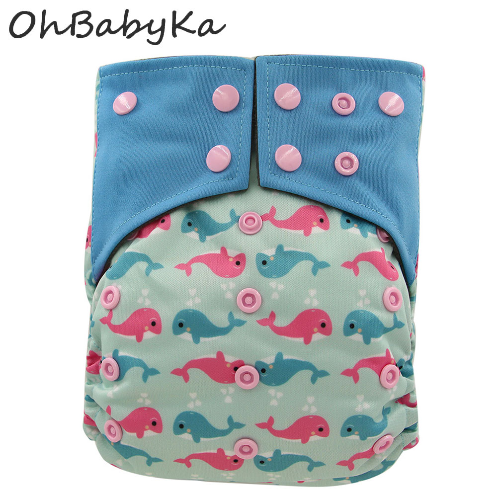 OhBabyKa Baby All-in-two Reusable Diapers Bamboo Charcoal Cloth Nappy Cloth Pocket Diapers Double Gussets One Size Adjustable baby diapers double guest charcoal bamboo night sleepy two pockets diaper reusable cloth diapers with sewn insert layer cover