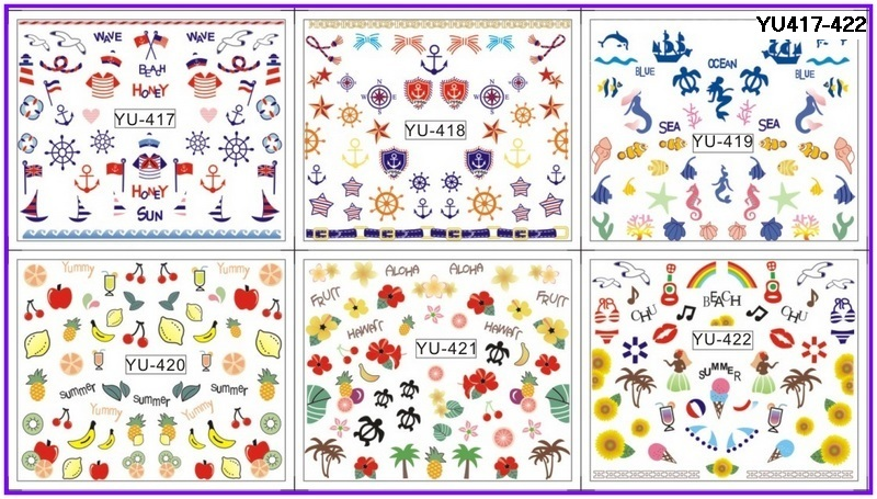 6 Pack/ Lot Water Decal Nail Art Nail Transfer Sticker Marine Sea Turtle Mermaid Anchor Beach Fruit Yu417-422 Vivid And Great In Style Nails Art & Tools