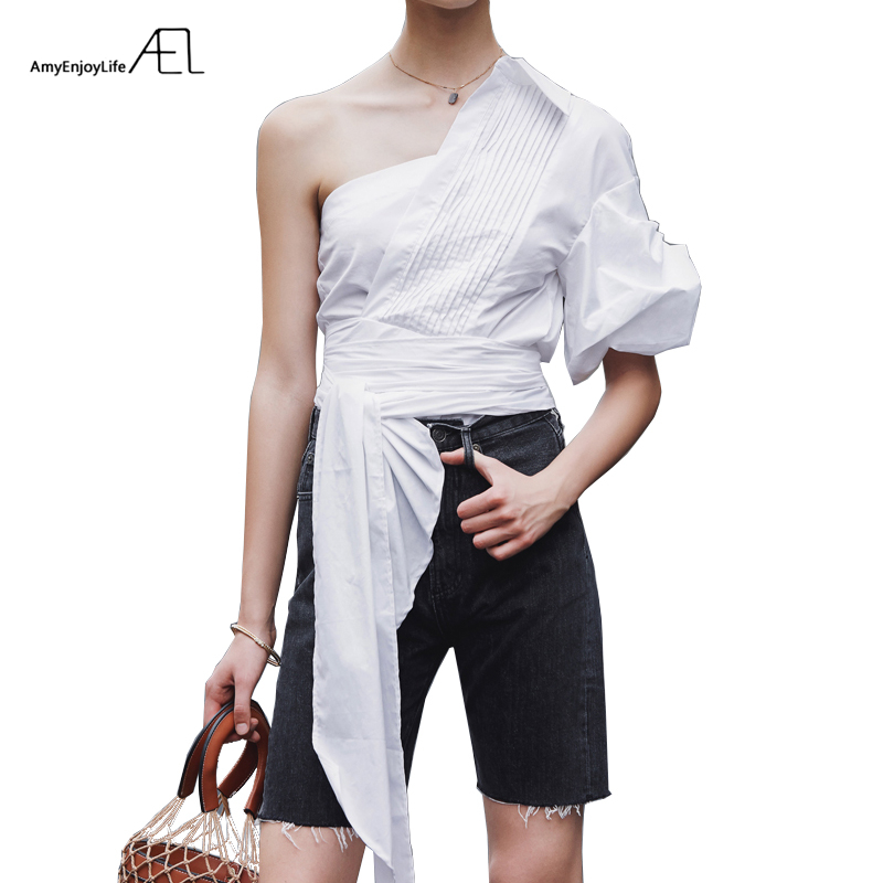 AEL White One Shoulder Blouse Bow Knot Summer Blouse Shirt 2019 Women Femme One shoulder Sexy Blouse Pleated Shirt Ladies Top