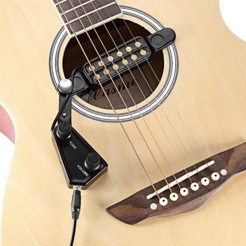 12-buraco Acústico Guitarra Buraco de Som Picape Transdutor Magnético com Controlador de Volume do Tom de Áudio Cabo Guitar Parts & Accessories