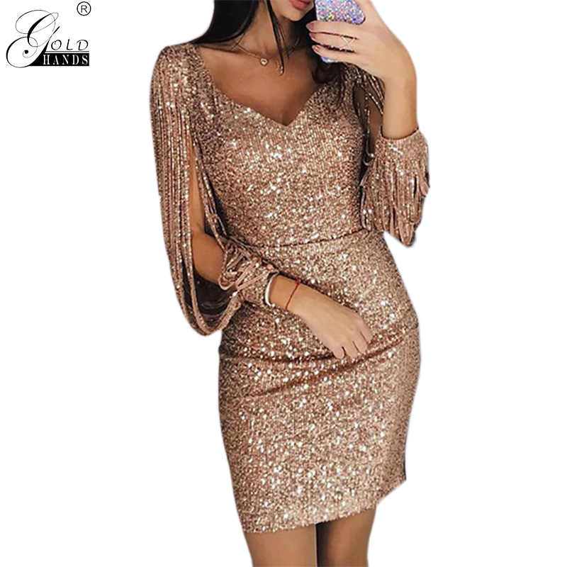Gold Hands Tassel Lantern Sleeve Dress Women Sexy V Neck Bodycon Dresses  Summer Fashion Elegant Party 88a66b26ac9a