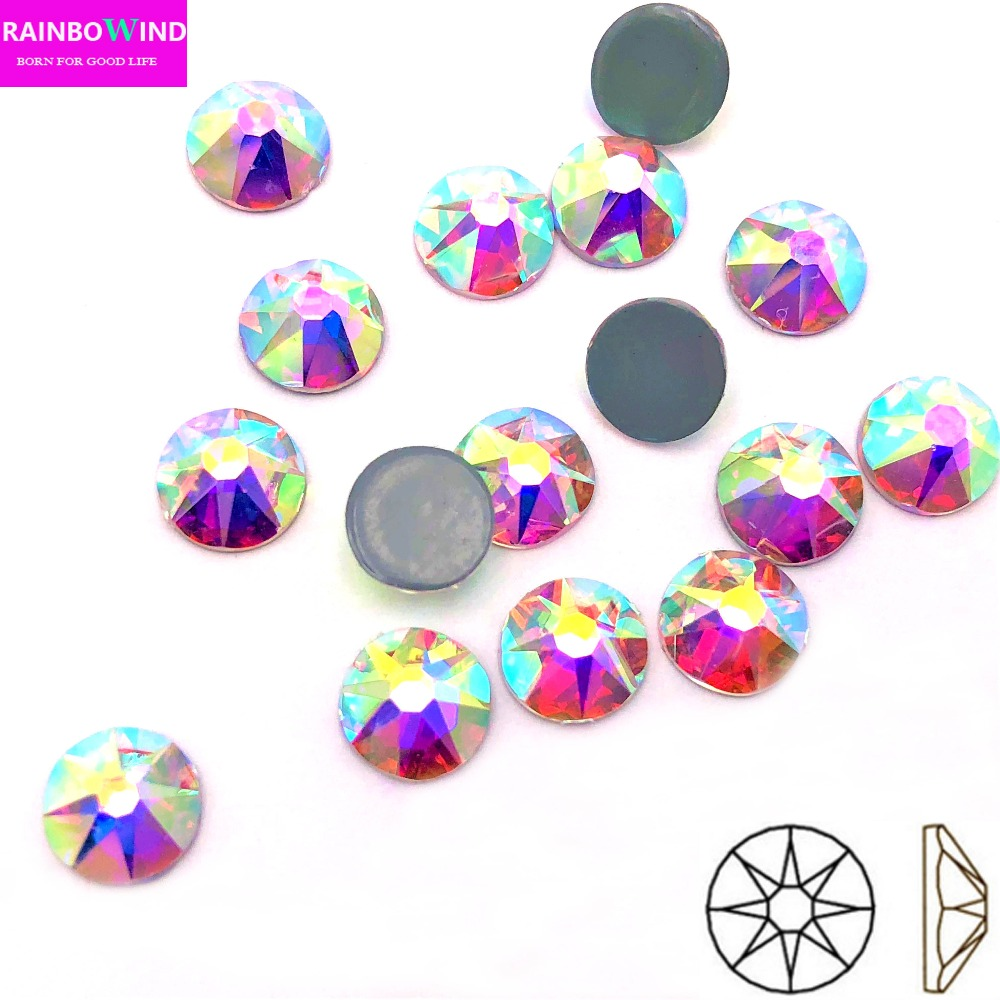 2088 cut clear crystal AB strass stone AAA New Facted (8 big+8 small) SS16 SS20 SS30 Nail Art hotfix Rhinestones FOR cloth