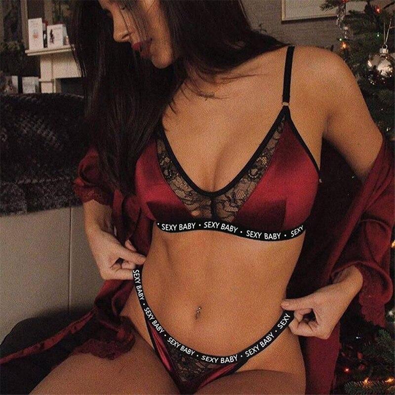 2019 Women Nightwear Sexy Bobydoll France Romantic Lace Push Up Bra Letter Hollow Out Women Bobydoll Underwear Sleepwear Linger