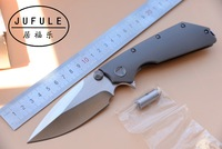 JUFULE DOC Folding D2 Blade Titanium / G10 bearing Flipper Tactical Outdoor Survival Camping Pocket Hunt EDC Tool kitchen Knife