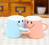 2pcs Lot Couple Ceramic Cup Creative Coffee Mug Pink Blue Color Milk Cup Office Coffee Cup