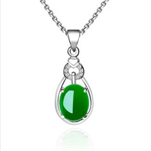 цена на Everoyal Luxury Crystal Green Stone Pendant Necklace For Women Accessories Charm Lady 925 Sterling Silver Necklace Girls Jewelry