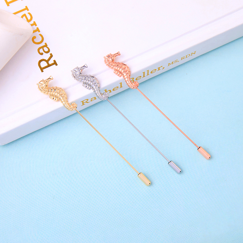 New Arrival Gold/Pink/Silver Color Seahorse Brooch For Women Romantic Appointment Date Gift Brooch Jewelry Accessory
