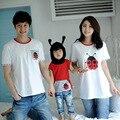 Мода семья соответствующие рубашки одежда мать дочь хлопок характер с коротким рукавом футболки семейные новый взгляд Большой размер