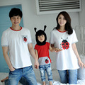Fashion Family Matching Shirts Mother Daughter Clothing Cotton Character Short-Sleeve Shirts Family New Look Plus Size