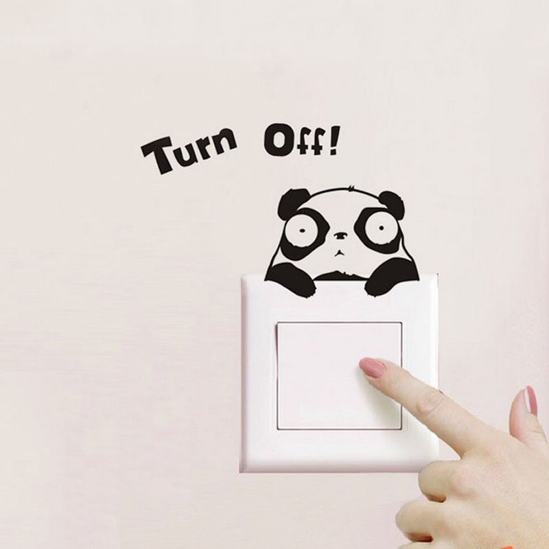 Cartoon Switch Wall Sticker Cute Turn Off Quota Panda ...