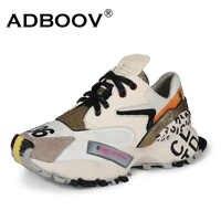 Zapatos de mujer de moda de cuero genuino ADBOOV Ins zapatillas gruesas de alto aumento de 5 CM zapatos de plataforma cesta de mujer